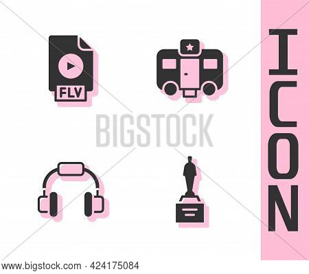Set Movie Trophy, Flv File Document, Headphones And Actor Trailer Icon. Vector