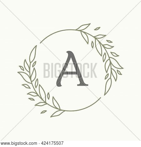 Initial A Letter With Floral Ornament For Your Best Business Symbol. Vector Illustration Eps.8 Eps.1