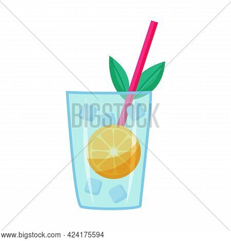 Cocktail With Ice, Orange And Straw. Vector Illustration.