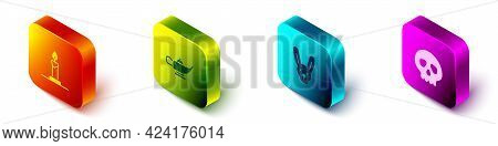 Set Isometric Burning Candle In Candlestick, Magic Lamp Or Aladdin, Rabbit With Ears And Skull Icon.