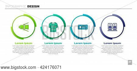 Set Movie Spotlight, T-shirt, Record Button And Stereo Speaker. Business Infographic Template. Vecto