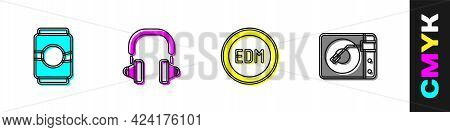 Set Beer Can, Headphones, Edm Electronic Dance Music And Vinyl Player With Vinyl Disk Icon. Vector