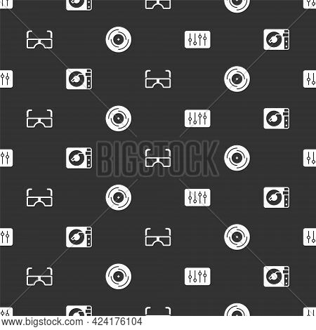 Set Sound Mixer Controller, Vinyl Player With Vinyl Disk, Glasses And On Seamless Pattern. Vector