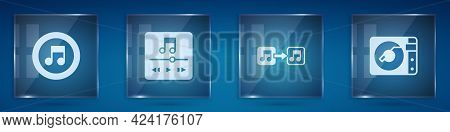 Set Music Note, Tone, Player, And Vinyl With Vinyl Disk. Square Glass Panels. Vector