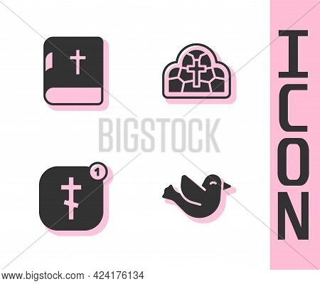 Set Dove, Holy Bible Book, Online Church Pastor Preaching And Stained Glass Icon. Vector