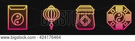 Set Line Jar Of Honey, Yin Yang And Envelope, Chinese Paper Lantern And Yin Yang. Glowing Neon Icon.