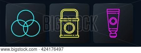 Set Line Rgb And Cmyk Color Mixing, Tube With Paint Palette And Paint Bucket. Black Square Button. V