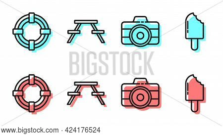 Set Line Photo Camera, Lifebuoy, Picnic Table With Benches And Ice Cream Icon. Vector