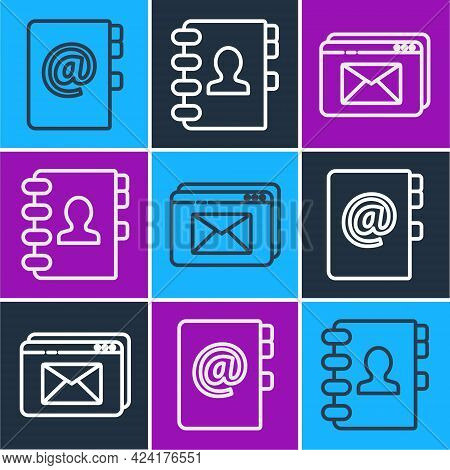 Set Line Address Book, Website And Envelope And Address Book Icon. Vector