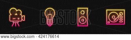 Set Line Stereo Speaker, Retro Cinema Camera, Light Bulb With Concept Of Idea And Vinyl Player. Glow