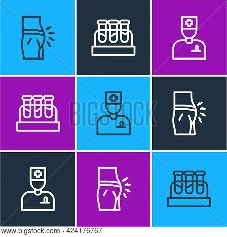 Set Line Abdominal Bloating, Male Doctor And Test Tube With Blood Icon. Vector