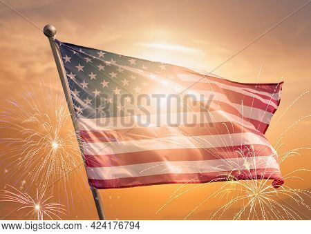 Usa 4th Of July Independence Day Background Of American Flag With Fireworks, Celebration Concept.