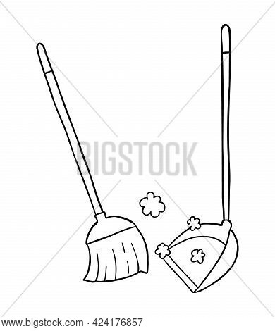 Cartoon Vector Illustration Of Broom And Dustpan, Sweep The Floor. Black Outlined And White Colored.