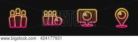 Set Line Location With Bowling Ball, Bowling Pin, And And . Glowing Neon Icon. Vector