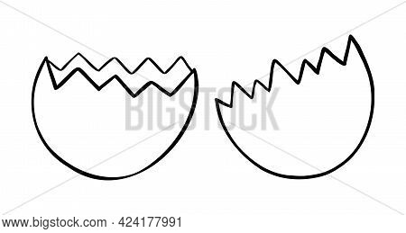 Cartoon Vector Illustration Of Broken Eggshell. Black Outlined And White Colored.