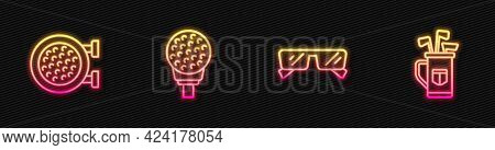 Set Line Glasses, Golf Sport Club, Ball On Tee And Bag With Clubs. Glowing Neon Icon. Vector