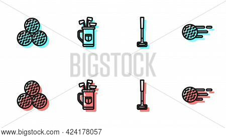 Set Line Golf Club, Ball, Bag With Clubs And Icon. Vector