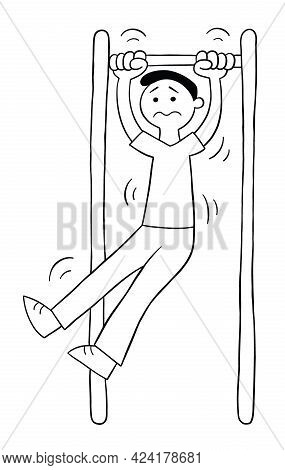 Cartoon Man On The Pull-up Bar But Can't, Vector Illustration. Black Outlined And White Colored.