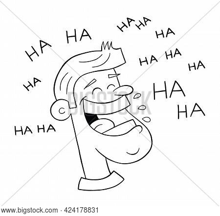 Cartoon Man Very Happy And Laughing Out Loud, Vector Illustration. Black Outlined And White Colored.