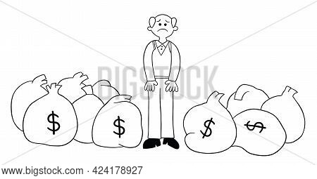 Cartoon Old Man Has Lots Of Money But He Is Unhappy, Vector Illustration. Black Outlined And White C