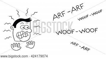 Cartoon Man Very Afraid Of Dog Barking, Vector Illustration. Black Outlined And White Colored.