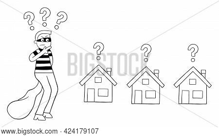 Cartoon Thief Man Thinks Which House To Rob, Vector Illustration. Black Outlined And White Colored.