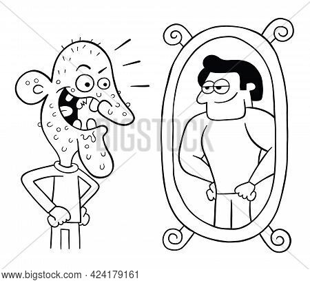 Cartoon Ugly Man Looks In The Mirror And Thinks He's So Handsome, Vector Illustration. Black Outline