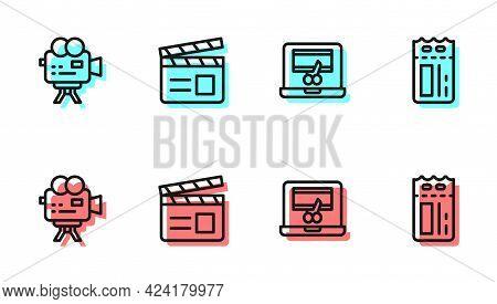 Set Line Video Recorder On Laptop, Retro Cinema Camera, Movie Clapper And Cinema Ticket Icon. Vector