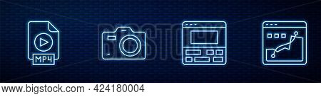 Set Line Video Recorder On Laptop, Mp4 File Document, Photo Camera And Histogram Graph Photography.