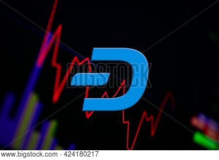 Dash Dash Cryptocurrency. Coin Growth Chart On The Exchange, Chart