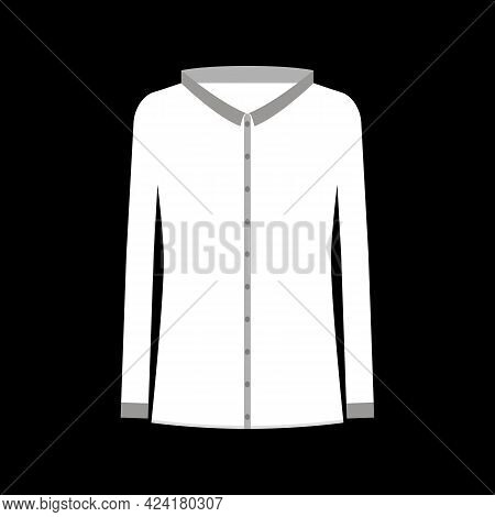 White Shirt Blouse For Women With Long Sleeves And Buttons. Isolated Vector Drawing On Black Backgro