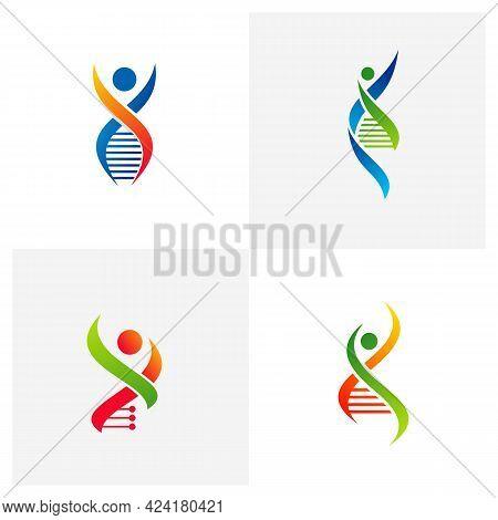 Set Of People Dna Logo Vector Template, Creative Dna Logo Design Concepts