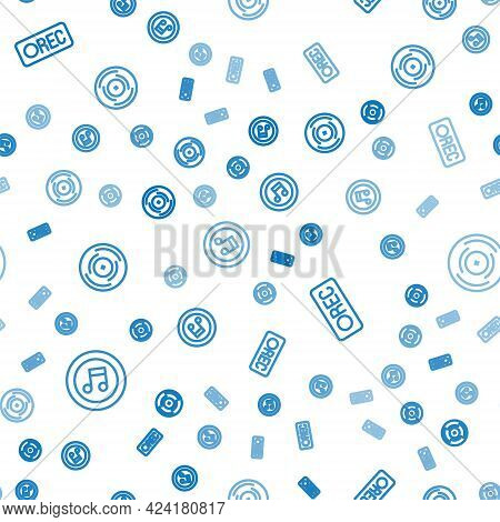 Set Line Music Note, Tone, Record Button And Vinyl Disk On Seamless Pattern. Vector