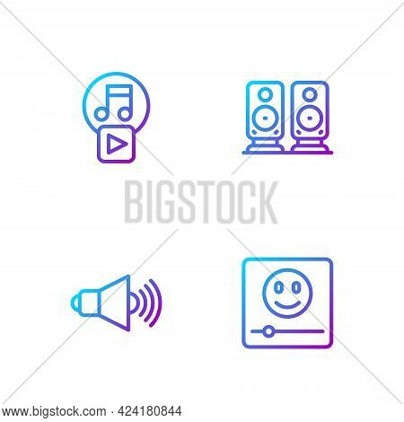 Set Line Music Player, Speaker Volume, Play In Square And Stereo Speaker. Gradient Color Icons. Vect