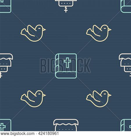Set Line Ark Of Noah, Dove And Holy Bible Book On Seamless Pattern. Vector