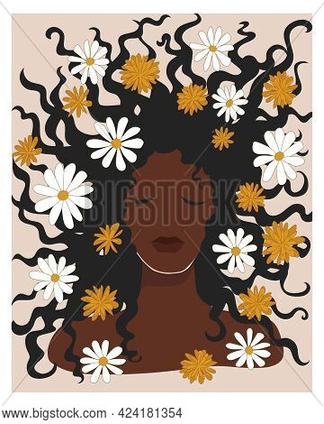 Beautiful African Woman With Chamomile Flowers In Her Loose Hair. Boho Mid Century Wall Art. Dark Sk