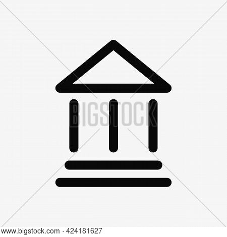 Line Bank Icon. Financial Building Vector. Courthouse Symbol.