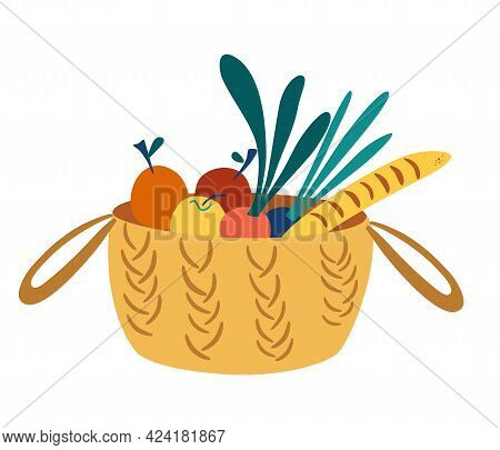 Wicker Basket With Groceries. Picnic Basket With Healthy Organic Food. Caring For The Environment Co