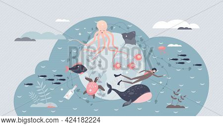 World Ocean Day And Water Purity Or Ecology Protection Tiny Person Concept. Earth Marine Climate Awa