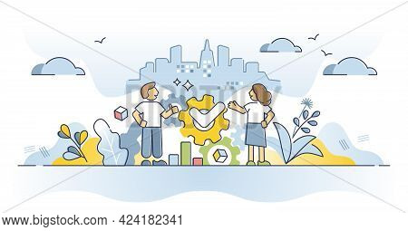 Joint Venture Collaboration Strategy As Business Partnership For One Task Outline Concept. Putting T
