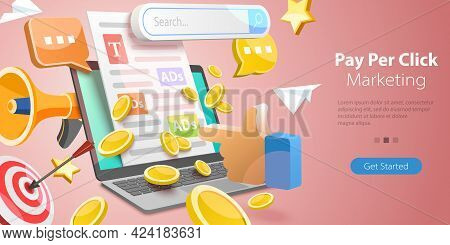 3d Isometric Flat Vector Conceptual Illustration Of Ppc - Pay Per Click Marketing Campaign, Online P