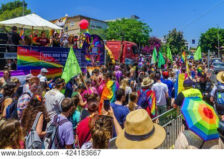 Haifa, Israel - June 18, 2021: A Crowd Of People March In The Street At The Annual Lgbtq Pride Parad