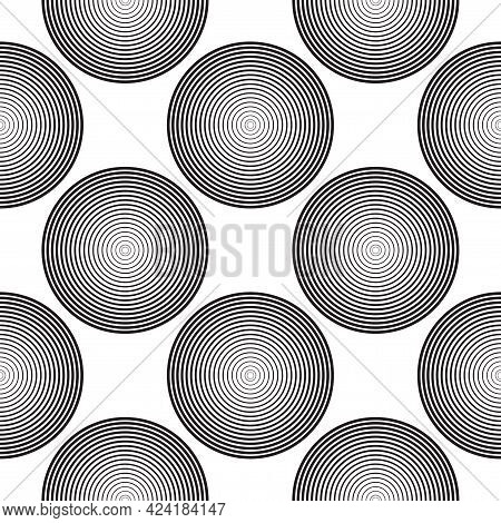 Screen Printing Seamless Pattern. Radiant Abstract Halftone Rings. Circular Pattern. Pop Art Round S