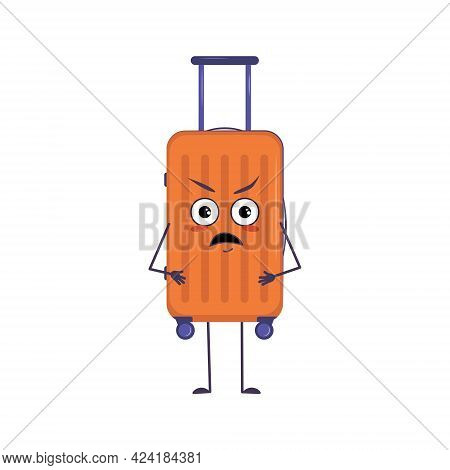 Cute Character Of Vacation Suitcases With Angry Emotions, Face, Arms And Legs. The Funny Or Grumpy L