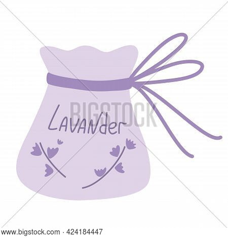 Bag Of Lavender. Bunch Of Flowers And Textile Sachet With Lavender. Home Decor And Comfort. Aromathe