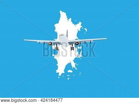 Airplane Flying Over Phuket Island Map.concept Of Reopening Phuket In Covid-19 Pandemic. Phuket Sand