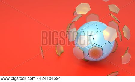 Fractured Broken Classic Soccer Football Ball With Hexagon Segments. Soccer Ball On Red Background.