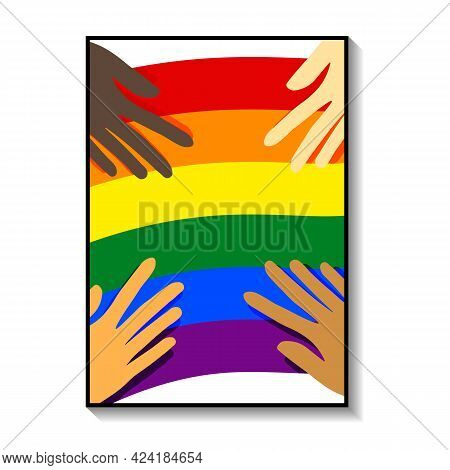 Gay Pride Month Poster Collection, Banner. Lettering Lgbt, Hearts, Colorful Symbols, Lgbt Icons. Tem