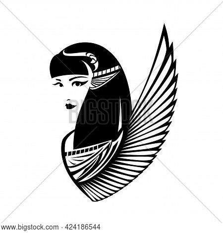 Beautiful Young Goddess Head And Bird Wing - Ancient Egyptian Beauty Black And White Vector Portrait