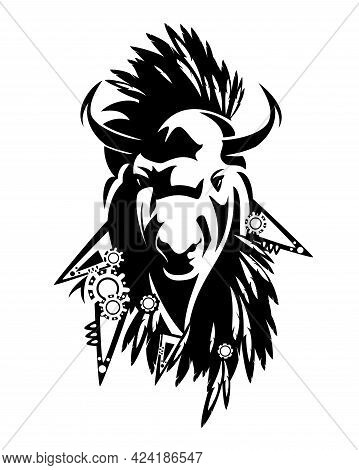 Wild Totem Bison Bull Head With Traditional Native American Style Feathered Decor - Tribal Style Ani
